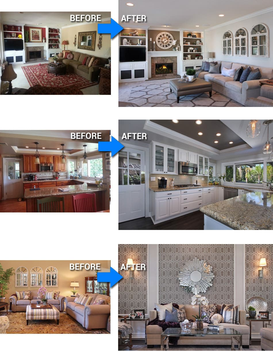 Before after photos orange ca interior design project Before and after interior design projects